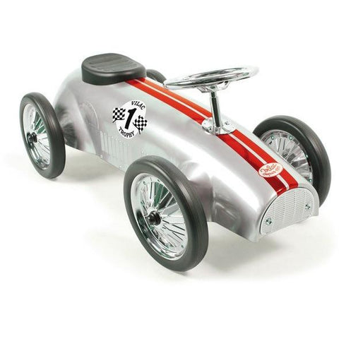 Vilac Classic Vintage Racer Kids Ride On Toy Car Silver