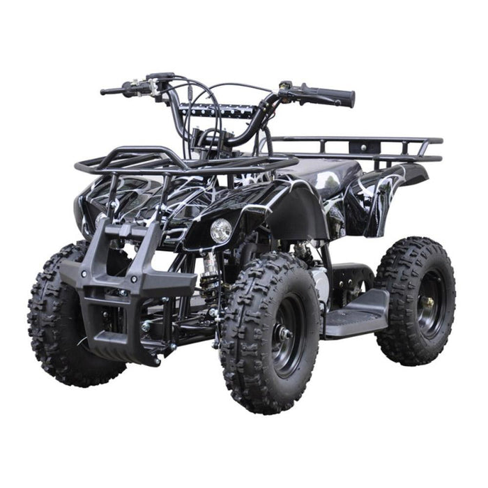 GMX Black GMX 49cc Air Cooled Petrol Powered 2-Stroke Farm Quad Bike for Kids GE-49FQBLK