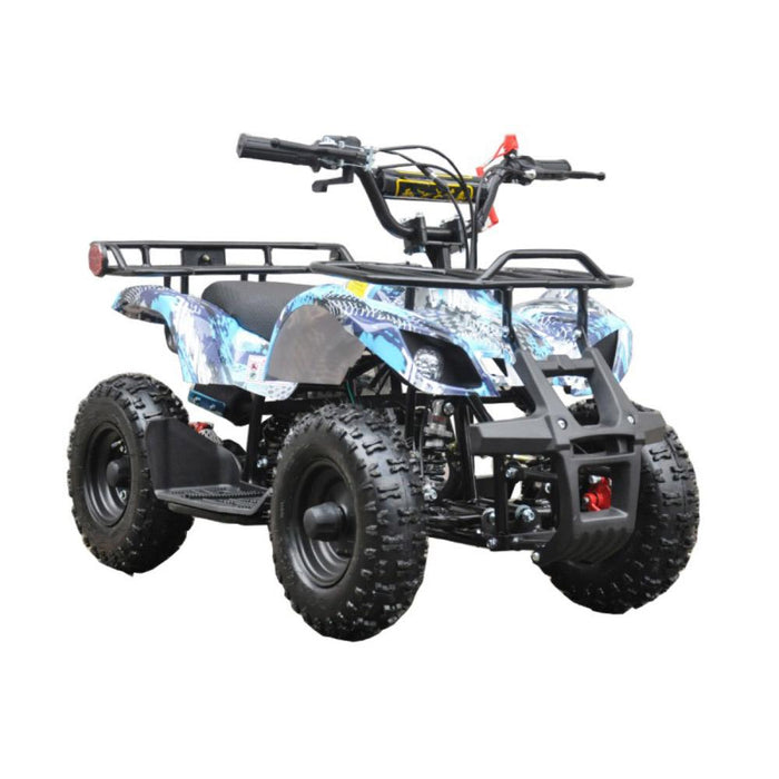 GMX Blue GMX 49cc Air Cooled Petrol Powered 2-Stroke Farm Quad Bike for Kids GE-49FQBLU