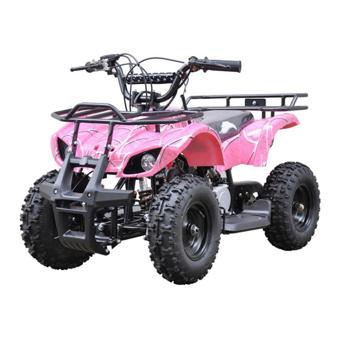 GMX Pink GMX 49cc Air Cooled Petrol Powered 2-Stroke Farm Quad Bike for Kids GE-49FQPNK