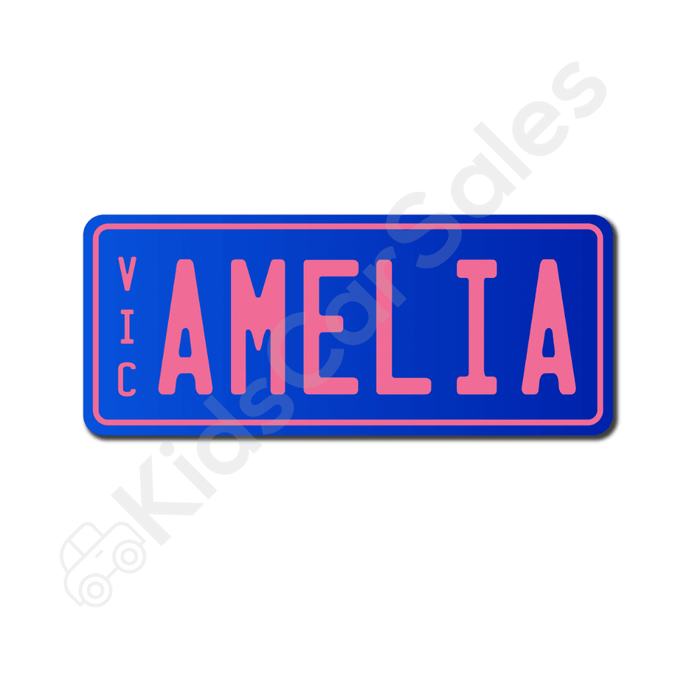 Unbranded Blue / Baby Pink Personalised Mini Number Plate for Kids Ride-On Cars