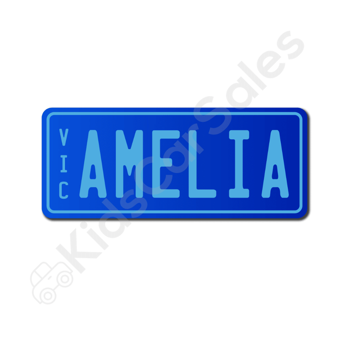 Unbranded Blue / Medium Blue Personalised Mini Number Plate for Kids Ride-On Cars