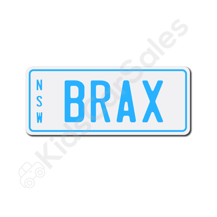 Unbranded White / Medium Blue Personalised Mini Number Plate for Kids Ride-On Cars