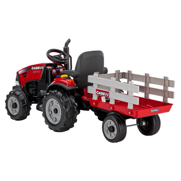 Case IH Magnum Battery Operated Red 12v Kids Ride On Tractor & Trailer - Kids Car Sales