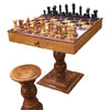 Image of Complete Teak Chess Package with Table and Stools - Kids Car Sales