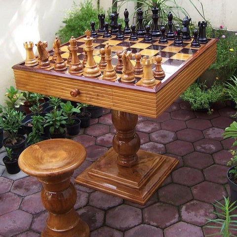 Complete Teak Chess Package with Table and Stools - Kids Car Sales