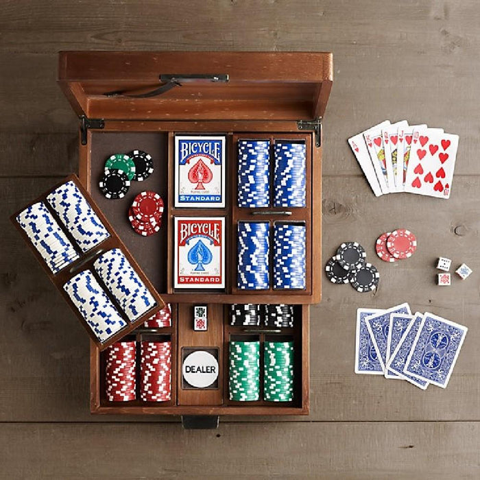 Deluxe Poker Set with Chips, Cards, Dice and Wooden Storage Chest - Kids Car Sales