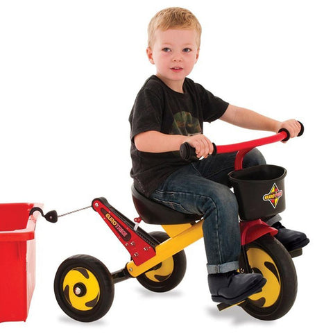 Eurotrike Kids Tow Trike - Yellow, Red & Black - Kids Car Sales