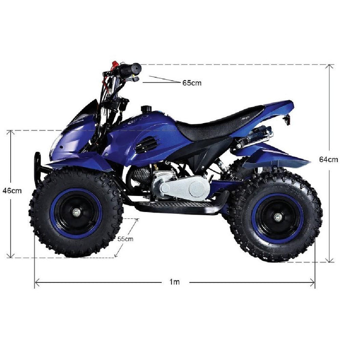 GMX GMX Junior 49cc Petrol-Powered 2-Stroke Kids Quad Bike - Blue GE-YA49D-BLU