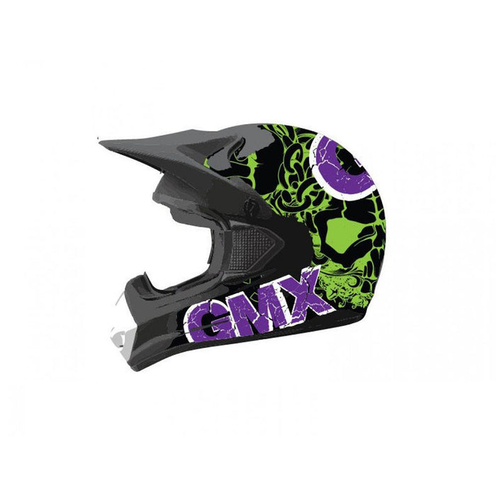 GMX Purple/Green / Small GMX Motorcross Kids Safety Helmet GE-014-051