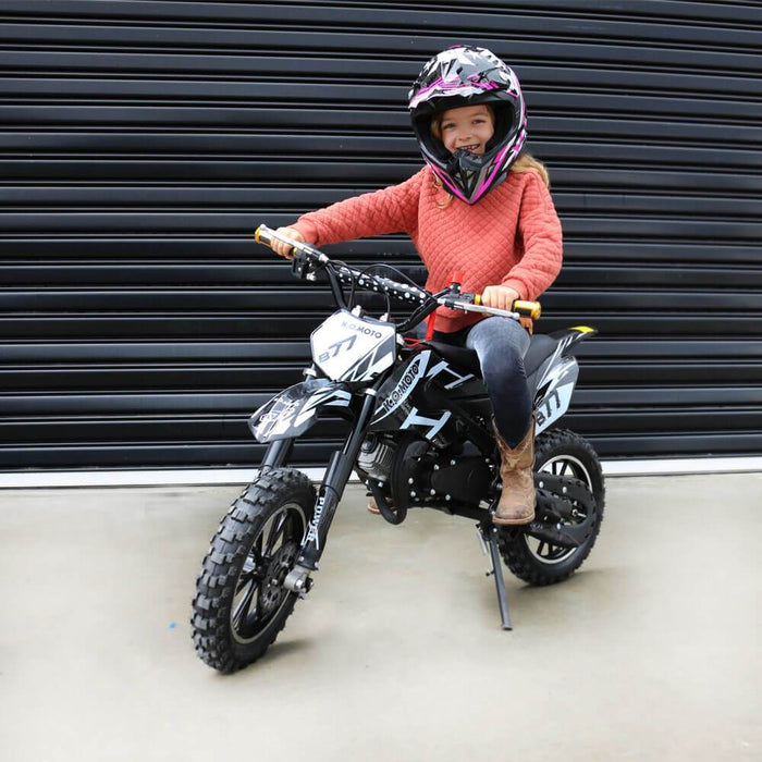 MJM MJM 49cc Petrol Powered 2-Stroke Kids Dirt Bike - Black MJM-49DB-BLA