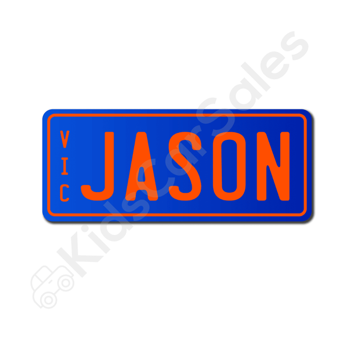Unbranded Blue / Orange Personalised Mini Number Plate for Kids Ride-On Cars