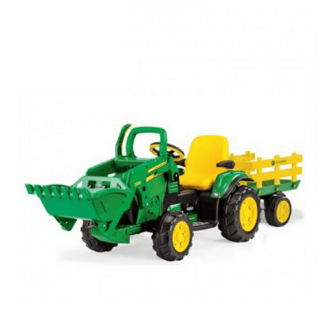 John Deere Ground Loader 12v Kids Ride On Tractor Digger With Scoop & Trailer