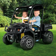 John Deere Midnight Black XUV 12V Kids Ride On Gator with Roof