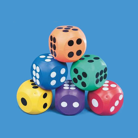 Jumbo 10cm Coloured Rubber Dice - 6 Pack - Kids Car Sales