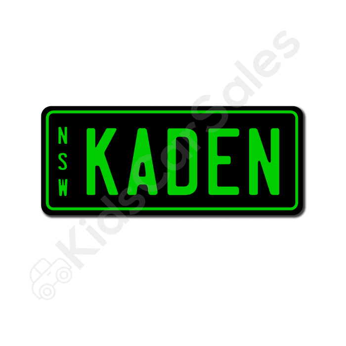 Unbranded Black / Lime Personalised Mini Number Plate for Kids Ride-On Cars