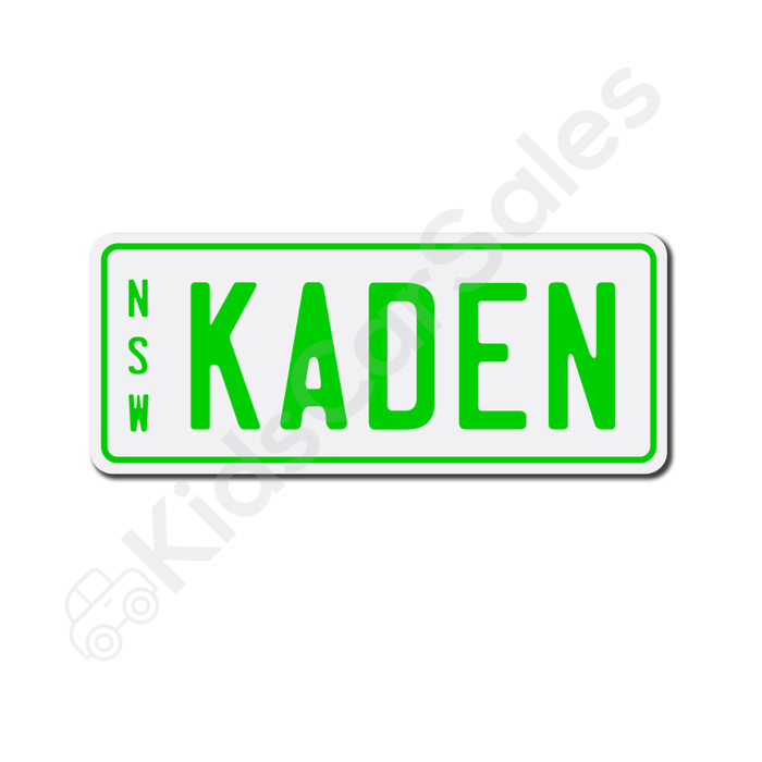 Unbranded White / Lime Personalised Mini Number Plate for Kids Ride-On Cars