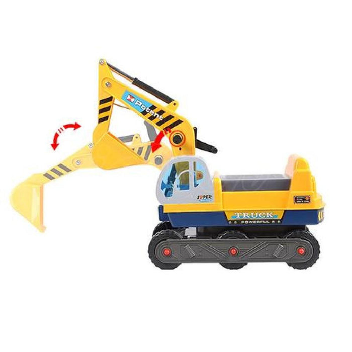 Kid Ride On Excavator on Wheels with Moving Bucket & Hard Hat - Kids Car Sales