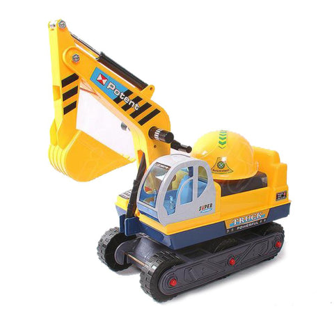 Kid Ride On Excavator on Wheels with Moving Bucket & Hard Hat