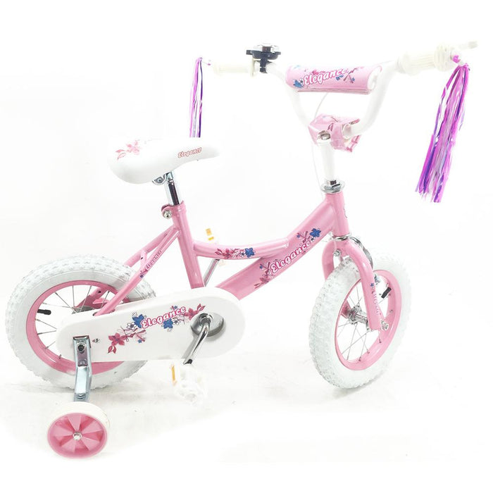 "Kids 12"" Pink & White BMX Bicycle with Training Wheels - Kids Car Sales"
