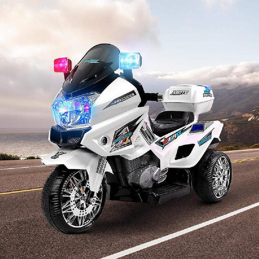Unbranded Kids Electric 12v Police Patrol 3-Wheel Ride-On Motorbike RCAR-MBIKE-POLICE-WH