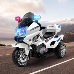 Kids Electric 12v Police Patrol 3-Wheel Ride-On Motorbike