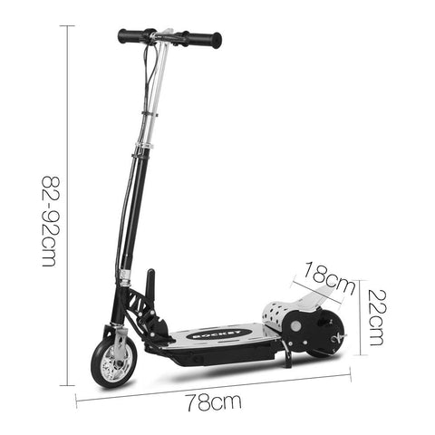 Kids Electric 24v Ride-On Rocket Scooter in Black
