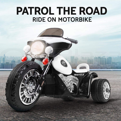 Kids Electric 6v White 3-Wheel Chopper-Style Police Ride-On Motorbike - Kids Car Sales