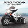 Image of Kids Electric 6v White 3-Wheel Chopper-Style Police Ride-On Motorbike - Kids Car Sales
