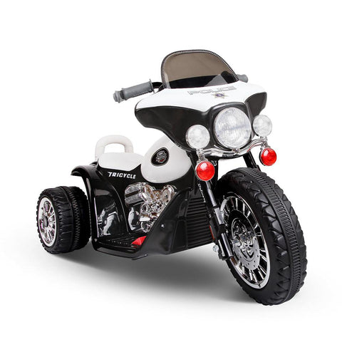 Kids Electric 6v White 3-Wheel Chopper-Style Police Ride-On Motorbike