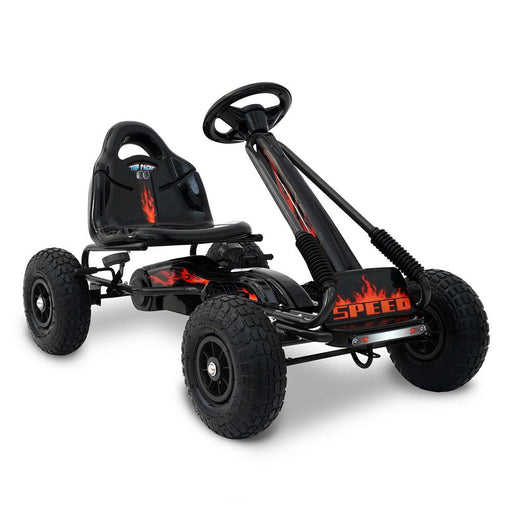 Unbranded Black Kids Ride On Outdoor Pedal Go Kart in Various Colours GKRT-F1A-BK