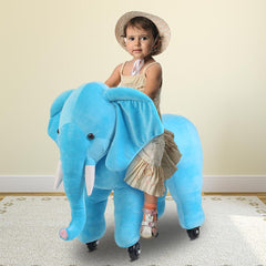 Kids Ride on Blue Elephant with Wheels