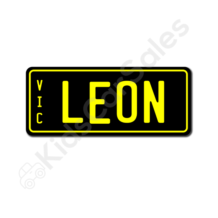 Unbranded Black / Yellow Personalised Mini Number Plate for Kids Ride-On Cars