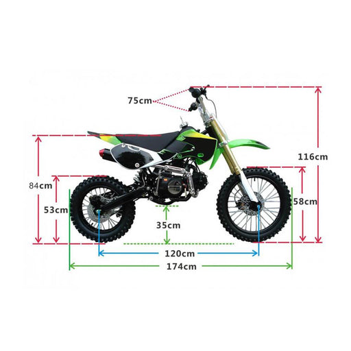 Motoworks Motoworks 150cc Petrol Powered 4-Stroke Big Foot Kids Dirt Bike - Green MOT-150BFDB-GRE