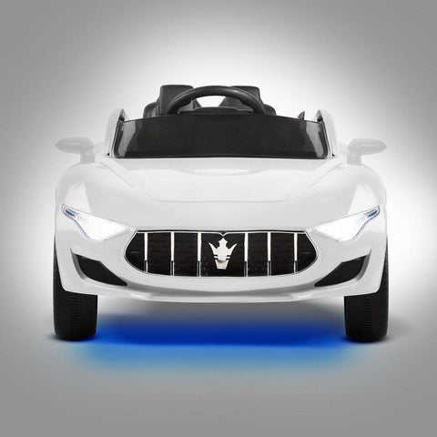 Maserati Inspired White 12v Ride-On Kids Car - Kids Car Sales