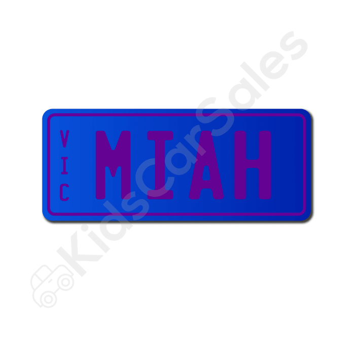 Unbranded Blue / Purple Personalised Mini Number Plate for Kids Ride-On Cars