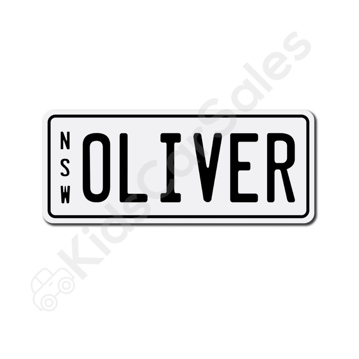 Unbranded White / Black Personalised Mini Number Plate for Kids Ride-On Cars