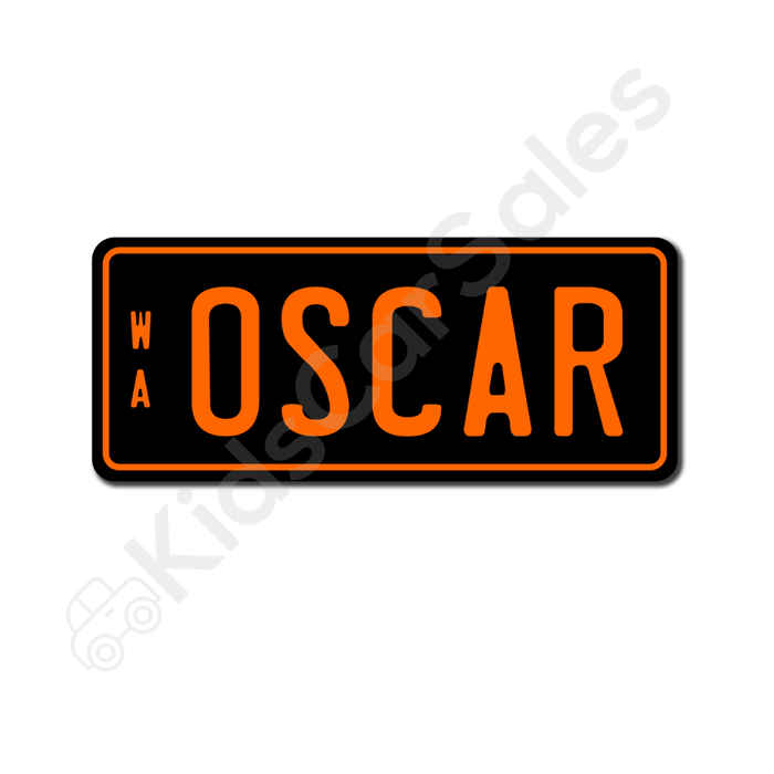 Unbranded Black / Orange Personalised Mini Number Plate for Kids Ride-On Cars