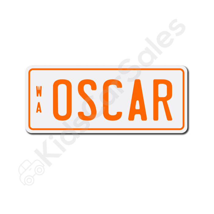 Unbranded White / Orange Personalised Mini Number Plate for Kids Ride-On Cars