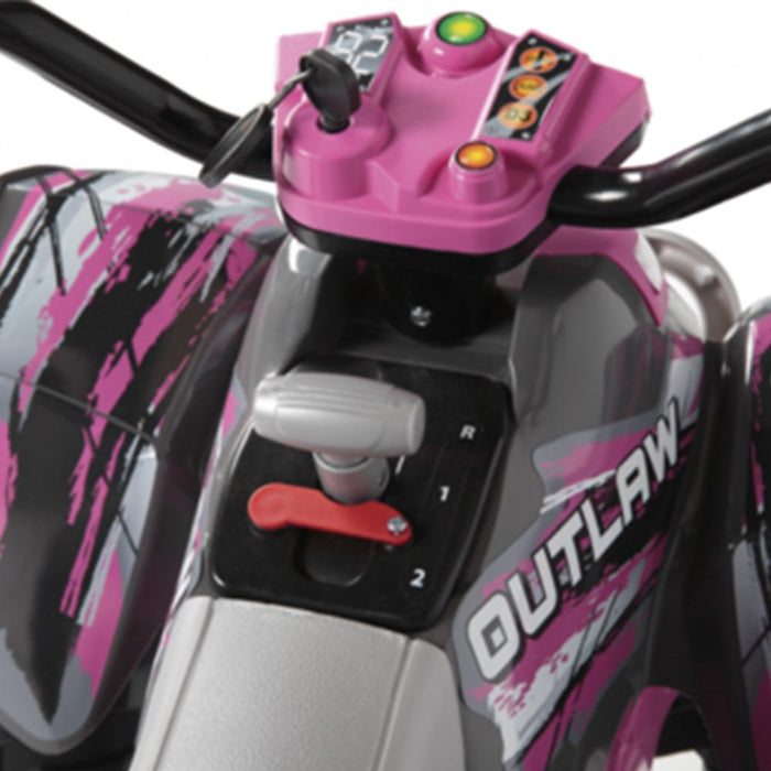 Peg Perego Peg Perego Polaris Outlaw Pink Power 12v Kids Ride-On Quad Bike IGOR0089