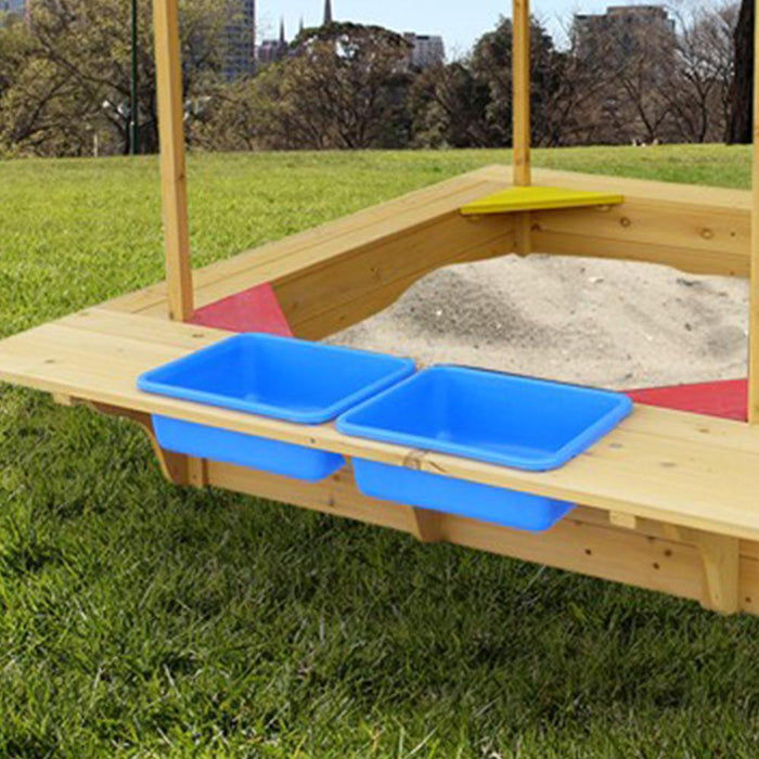 Playfort Timber Sandpit with Canopy, Storage Bins and Bench - Kids Car Sales