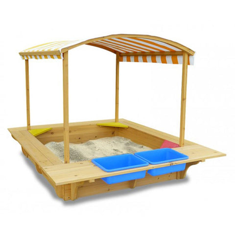 Playfort Timber Sandpit with Canopy, Storage Bins and Bench