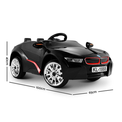 BMW i8 Style Black Inspired Black 12v Kids Ride-On Car - Kids Car Sales