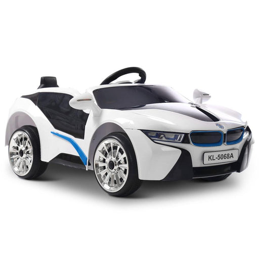 BMW i8 Style White Inspired Black 12v Kids Ride-On Car - Kids Car Sales