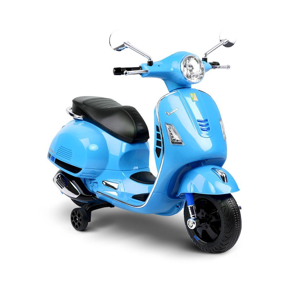 Kids Ride On 6v Vespa Scooter with Balance Wheels - Blue - Kids Car Sales