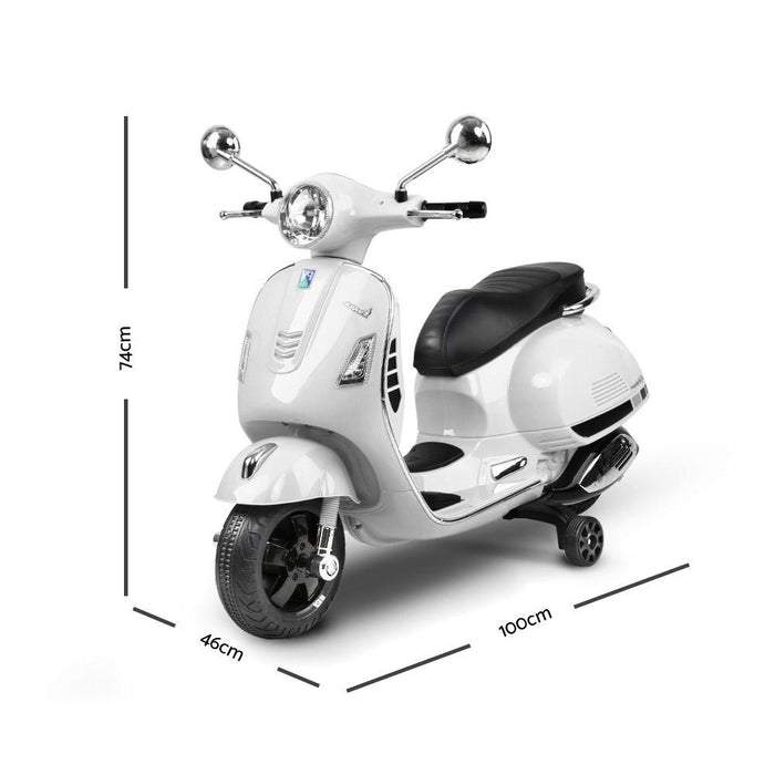 Kids Ride On 6v Vespa Scooter with Balance Wheels - White - Kids Car Sales
