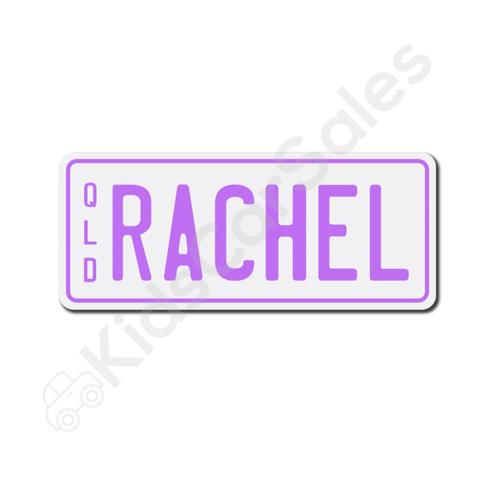 Unbranded White / Lavender Personalised Mini Number Plate for Kids Ride-On Cars