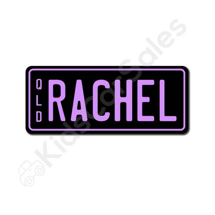 Unbranded Black / Lavender Personalised Mini Number Plate for Kids Ride-On Cars