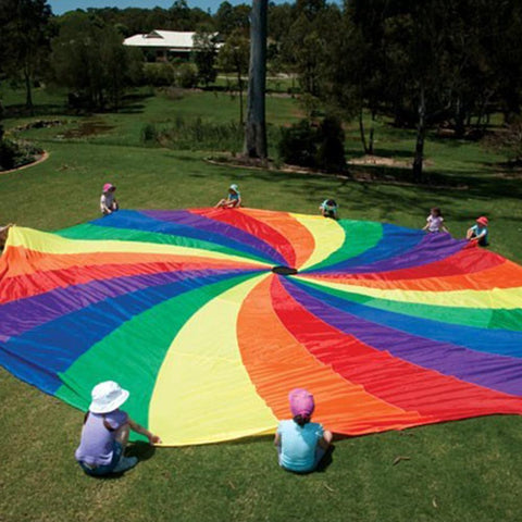 Rainbow Colour Swirl Play Parachute With Handles - Various Sizes