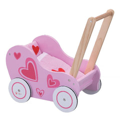 Retro Kids Wooden Pink Walk-Along Baby Pusher by Classic World
